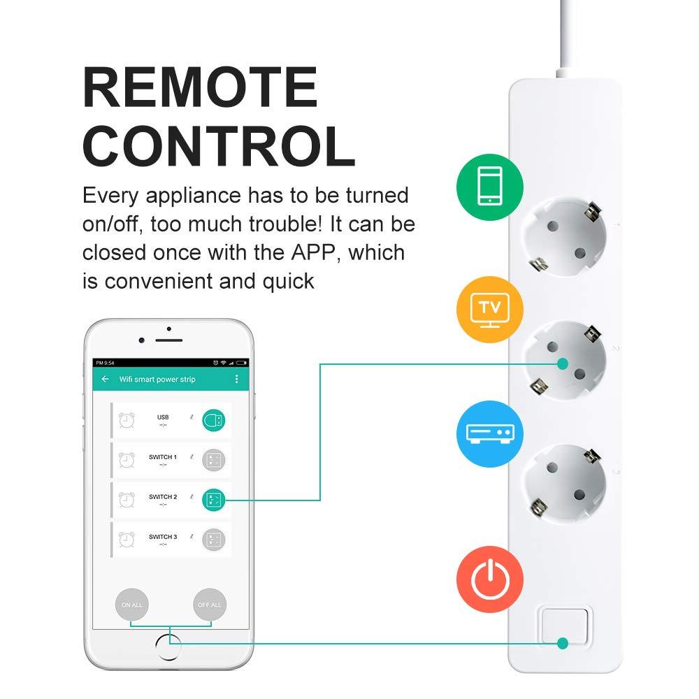 Smart Plug EU USB Prese Temporizzata Wireless Accesso Remoto Presa Intelligente usb Ciabatta Multipresa 3 Presa 3 Porte USB Compatibile con iOS Android App 1pack Prese Multipla WiFi Ciabatta USB