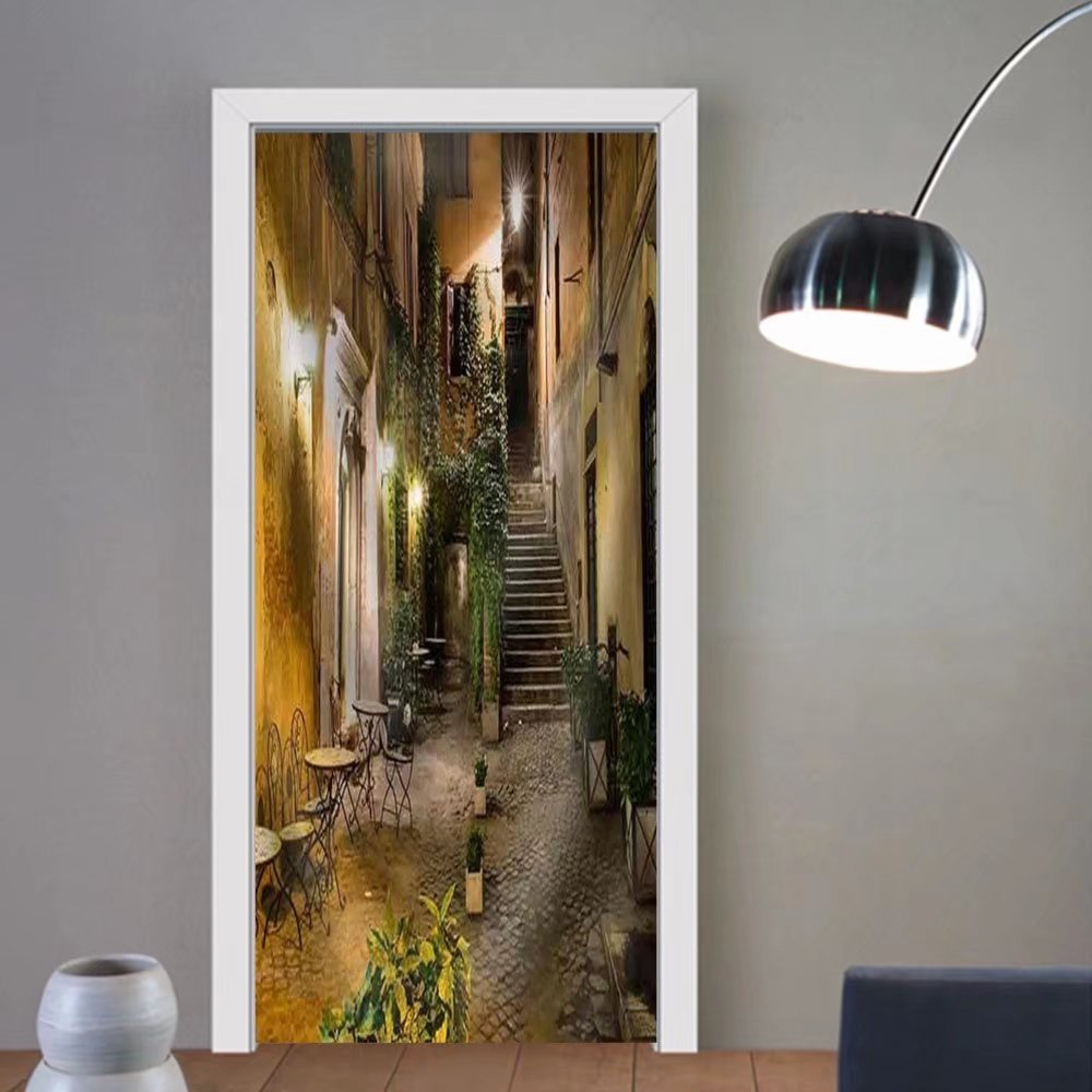 Niasjnfu Chen custom made 3d door stickers Old Courtyard in Rome Italy Fabric Home Decor For Room Decor 30x79