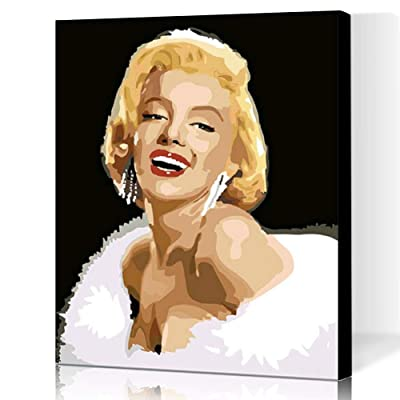 LIUDAO DIY Oil Painting Paint by Numbers for Beginner - Marilyn Monroe (16x20 inch, Framed): Arts, Crafts & Sewing