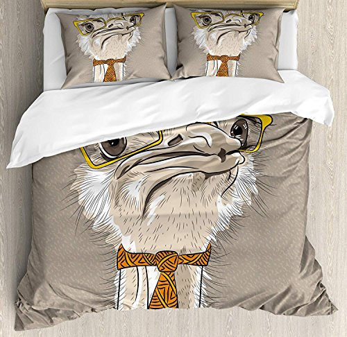 Indie Bedding Duvet Cover Set, Sketch Portrait of Funny Modern Ostrich Bird with Yellow Eyeglasses and Tie, Decorative 3 Piece Bedding Set with 2 Pillow Shams, Taupe Beige Yellow -Full