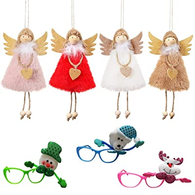 NSZMDFJ Christmas Plush Toy Creative Angel Doll (4-Count) Glasses (3-Count) Christmas Tree Toy Pendant Bedroom Living Room Decoration Christmas Thanksgiving Child Gift,Combination: Sports & Outdoors