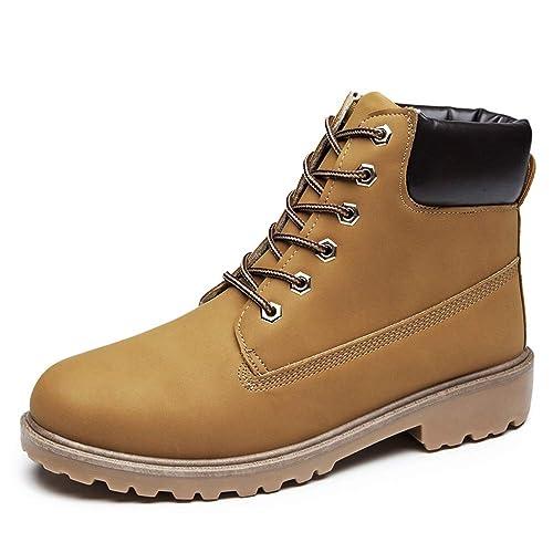 BAOLESEM Botas Militares Unisex Hombre y Mujer Botines Plano con Cordones: Amazon.es: Zapatos y complementos