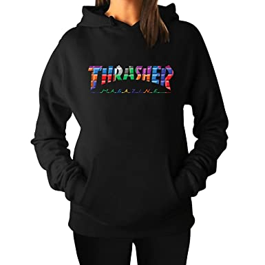 Women s Thrasher Color Block Hoodie Sweatshirts XXL Black Printed ... d826441538