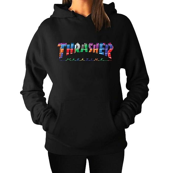Sudadera de mujer lisa con capucha con la inscripción impresa «Thrasher» - negro - Large: Amazon.es: Ropa y accesorios