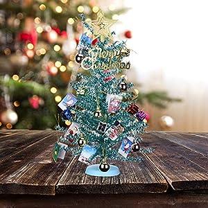 KEYNICE Artificial Mini Tinsel Tree 2