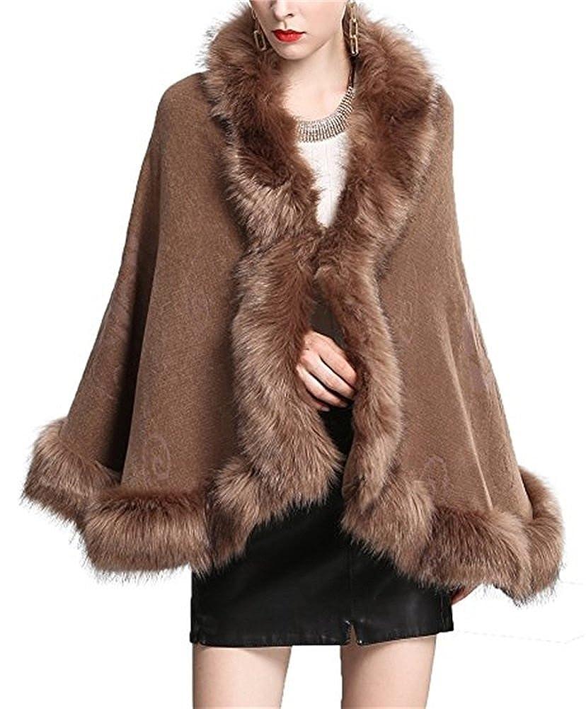 FOLOBE Women Faux Fox Fur Cape Coat Floral Bridal Shawl Cloak Sweater, White Black FB60502-Black
