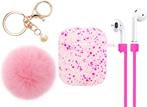 IiEXCEL AirPods Case, AirPods Silicone Spot Cute Protective Case Cover Skin with Fur Ball Keychain Strap for Apple AirPods Charging Case (Cherry Pink)
