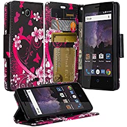 ZTE Majesty Pro Case, ZTE Tempo Case, Luxury PU Wrist Strap Leather Wallet Flip Protective Case Cover with Card Slots and Stand for ZTE Majesty Pro Z799VL / ZTE Tempo N9131 - (Hot Pink Sensation)