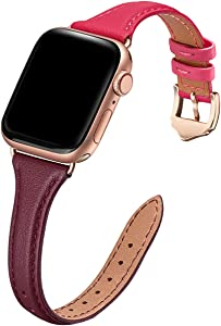 WFEAGL Leather Bands Compatible with Apple Watch 38mm 40mm 42mm 44mm, Top Grain Leather Band Slim & Thin Replacement Wristband for iWatch SE & Series 6/5/4/3/2/1 (Wine DarkRoseRed/RoseGold, 38mm 40mm)