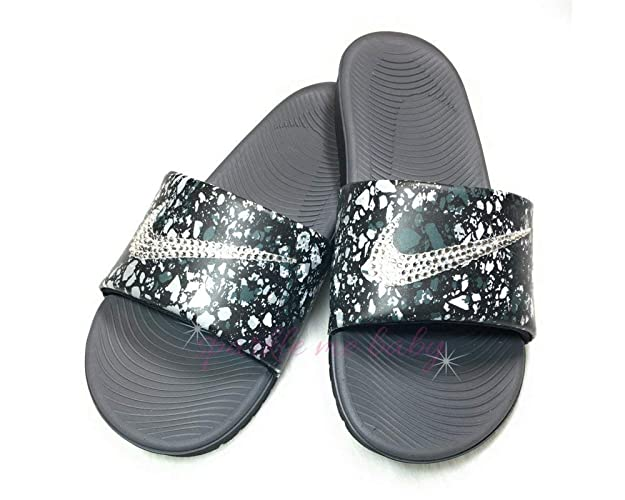 Image Unavailable. Image not available for. Color  Nike Slide Women s Black  and White Swarovski Bedazzled Shoes Bling ... 25c37cbad