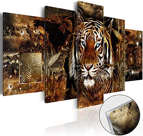 5 Panel Golden Jungle Tiger Canvas Pictures Wall Art Modern Animal Painting Set Framed Artwork for Living Room Office Bedroom