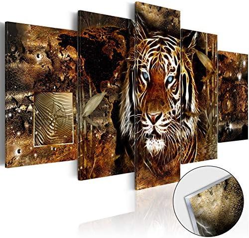 5 Panel Golden Jungle Tiger Wall Art Modern Animal Canvas Pictures Painting Set Framed Artwork for Living Room Office Bedroom
