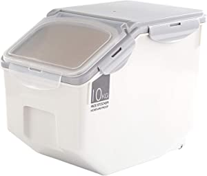 Simple Plastic Kitchen Rice Box Sealed Control Moisture Storage Barrels Meter Cylinder For Rice, Flour (22Ib / 50 cup)
