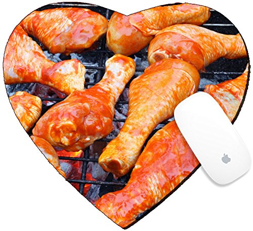 Luxlady Mousepad Heart Shaped Mouse Pads/Mat design IMAGE ID 25237199 Marinated chicken legs on the grill ()