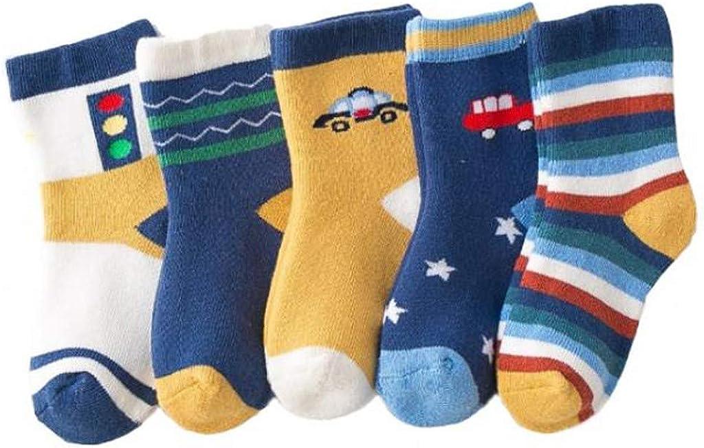 Sylar Niños Niñas Calcetines De Algodón Cómodo Suave, 5 Pares Calcetines de Algodón Caricatura Térmicos Invierno calcetines deportivos, niñas 1-10 años