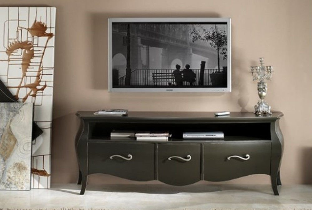 Tv-Wohnwand Wohnzimmer Holz 3 Schubladen Gewölbt Und Offenes Fach