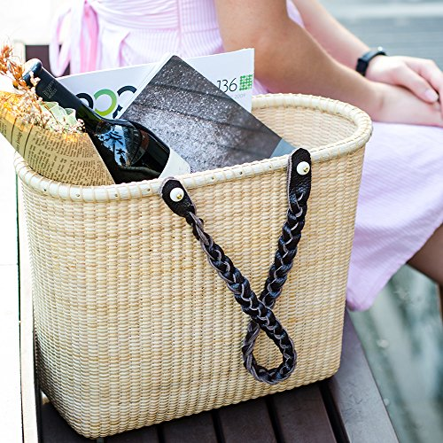 Teng Tian Basket Office Tote (Leather Baskets Wicker Shopping With Handles)