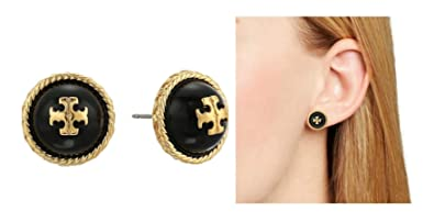 c38cbe9fd Image Unavailable. Image not available for. Color: Tory Burch Rope Logo  Stud Earrings Black Gold