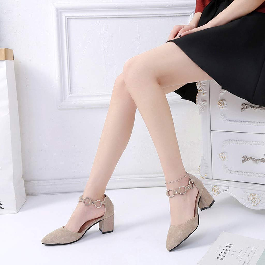 Limsea/Women Pointed Toe Shoes Fashion Casual Party Med Thick Metal Ankle Single