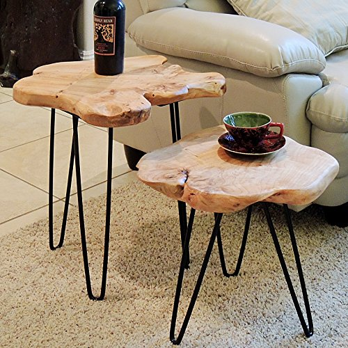 WELLAND Live Edge Side Table with Hairpin Legs, Natural Edge Side Table, Small Nightstand Wood, 15.5'' Tall by WELLAND (Image #5)