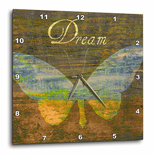 3dRose dpp_43951_2 Bronze Dream Butterfly- Inspirational Words- Art-Wall Clock, 13 by 13-Inch For Sale