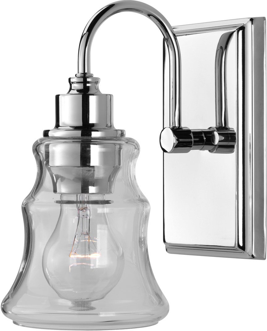 Luxury Vintage Bathroom Vanity Light, Small Size: 9.25''H x 5''W, with Americana Style Elements, Polished Chrome Finish and Clear Shade, UHP2551 from The Columbus Collection by Urban Ambiance