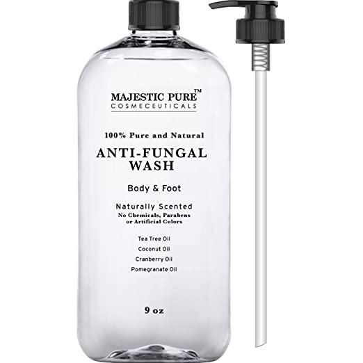 Majestic Pure Antifungal Soap with Tea Tree Oil, Natural Foot & Body Wash, 9 oz - Helps with Nail Fungus, Athletes Foot, Ringworms, Jock Itch & Body Odor
