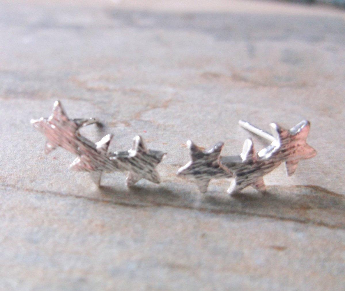 Silver Plate Star Starburst Stud Earrings