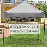 BenefitUSA G241-TAUPE Replacement Top for Ez Pop up 10'X10' Gazebo Canopy Cover Patio Pavilion Plyester-Taupe