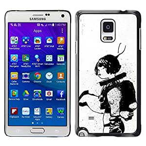 Shell-Star Arte & diseño plástico duro Fundas Cover Cubre Hard Case Cover para Samsung Galaxy Note 4 IV / SM-N910F / SM-N910K / SM-N910C / SM-N910W8 / SM-N910U / SM-N910G ( Astronaut Sketch Black White Woman )