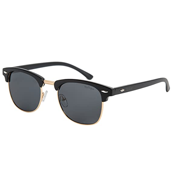 e2448331f0 Dollger Classic Polarized Clubmaster Sunglasses Half Frame Horn Rimmed  (Black Lens+Matte Black Resin Frame)  Amazon.in  Clothing   Accessories