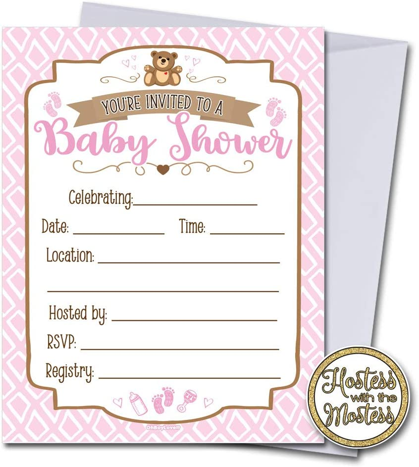 Pink and Brown| Fill in Style Pink Baby Shower Invitations with Envelopes 25 Pack Teddy Bear Baby Girl