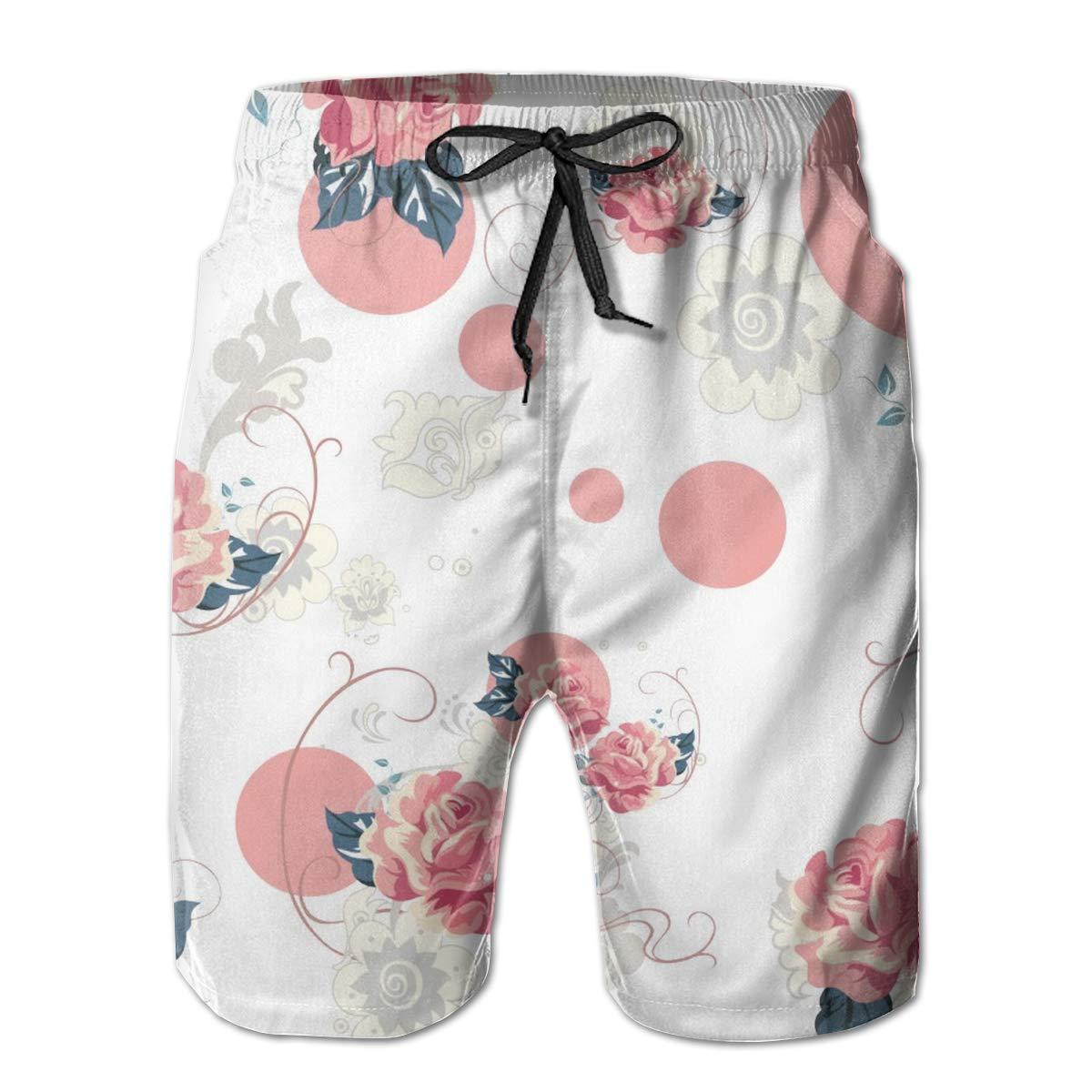 3D Print Swimwear Side /& Back Pocket Adjustable Waist Men Casual Board Shorts