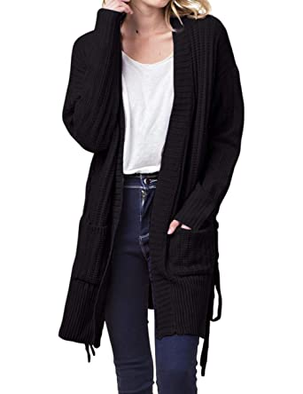 91b8182f86d MEROKEETY Women s Long Sleeve Open Front Lace Up Side Knit Sweater Cardigans  with Pockets Black at Amazon Women s Clothing store
