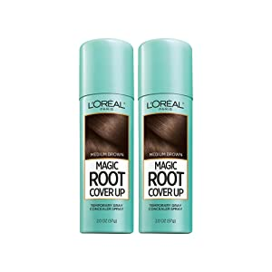 L'Oreal Paris Magic Root Cover Up Gray Concealer Spray Medium Brown 4 oz (2 pack)