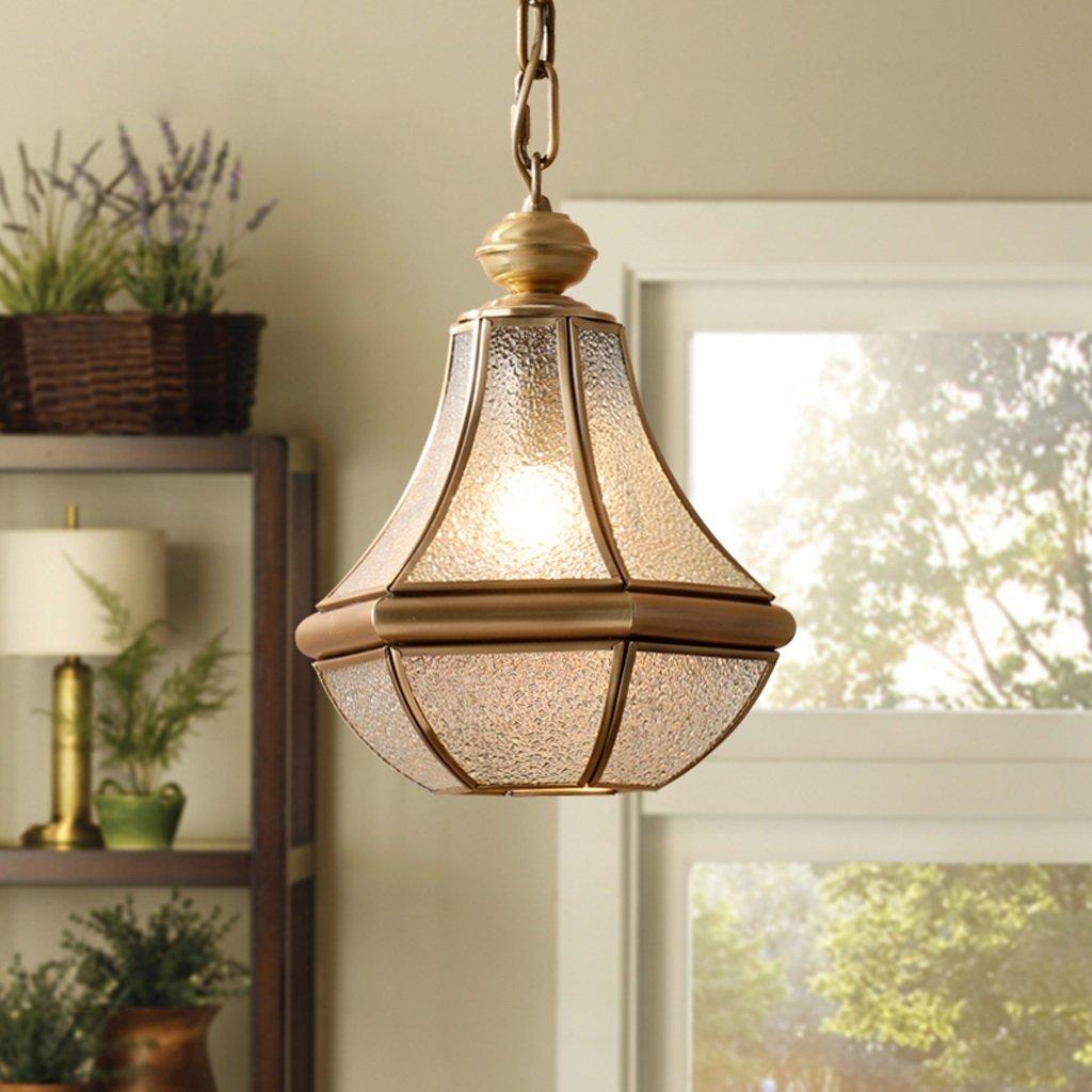 LOFAMI European Style Retro Luxury Copper Chandelier Glass Lampshade E27 Pendant Lamp Living Room Corridor Cafe Study Decoration Ceiling Lamp, 28 32CM by LOFAMI (Image #8)