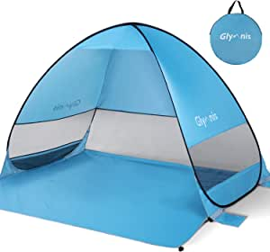 Glymnis Beach Tent Pop Up Tent Beach Sun Shelter Portable Sun Shade UPF 50+ for Outdoor Activities with Carry Bag Blue