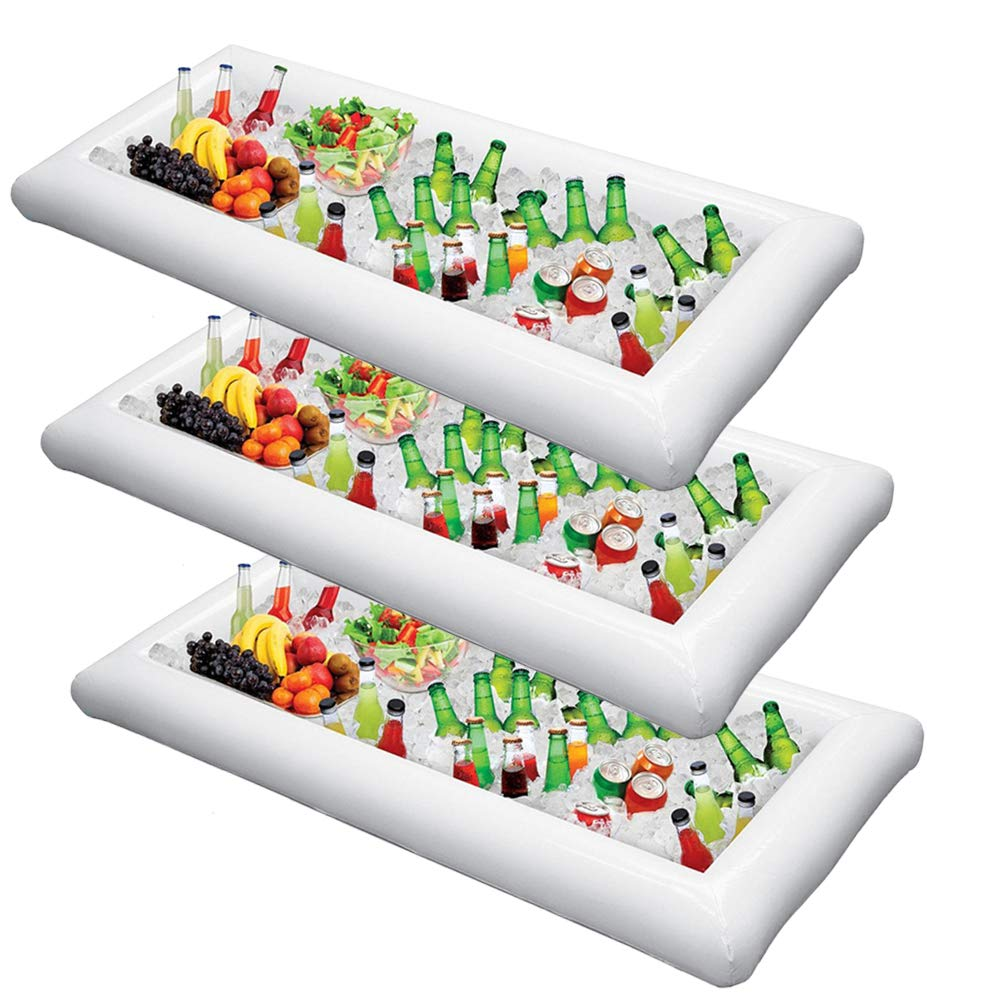 Inflatable Serving Bar Salad Ice Tray Food Drink Containers - BBQ Picnic Pool Party Supplies Buffet Luau Cooler,with a drain plug by Moon Boat