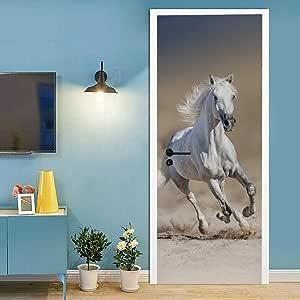 Etiqueta de Puerta 95x215cm Caballo blanco animal Adhesivo ...