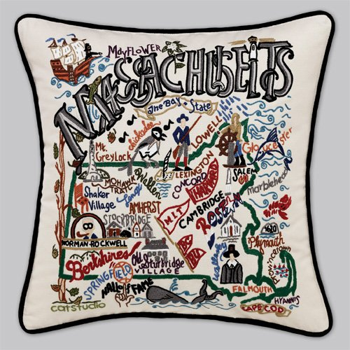 Massachusetts State Pillow by Catstudio by Catstudio Embroidered Pillow