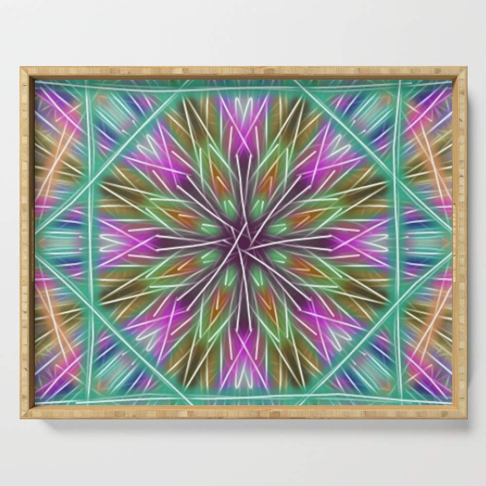 Society6 Serving Tray with handles, 18'' x 14'' x 1 3/4'', Holiday Window by lillianhibiscus