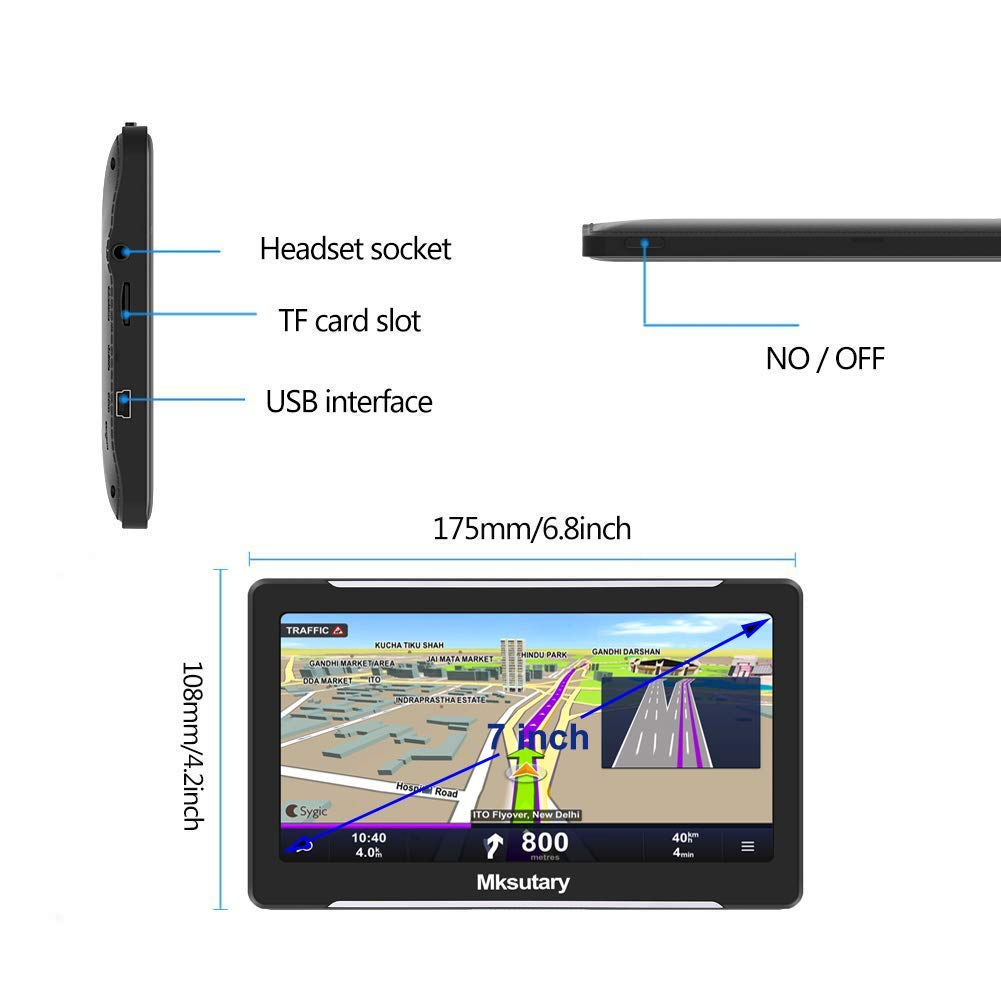 GPS per auto memoria RAM da 256 MB navigatore per auto e aggiornamenti delle mappe a vita GPS per auto schermo di navigazione LCD touch capacitivo da 7 mappa GPS di 51 paesi ROM da 8 GB