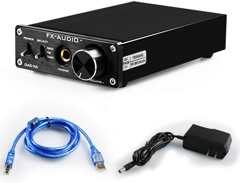 FX Audio DAC Converter&Headphone Amplifier-192kHz RCA 6.5mm Headphone Output HiFi Stereo Home Audio Digital to Analog Converter with Volume Control DC12V Power Supply (X6-Black)