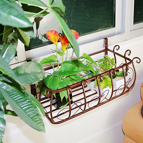 - Flower stand European balcony railings flower rack, Iron fence hanging carnival, flower pot, living room indoor wall-mounted flower shelf Flower Rack ( Size : 602822cm )