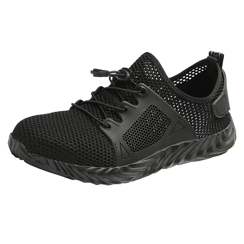 Lloopyting Mens Construction Shoe Lace-Up Sneaker Mesh Breathable Fashion Sport Causal Shoes Non Slip Lightweight Flat Shoes Black