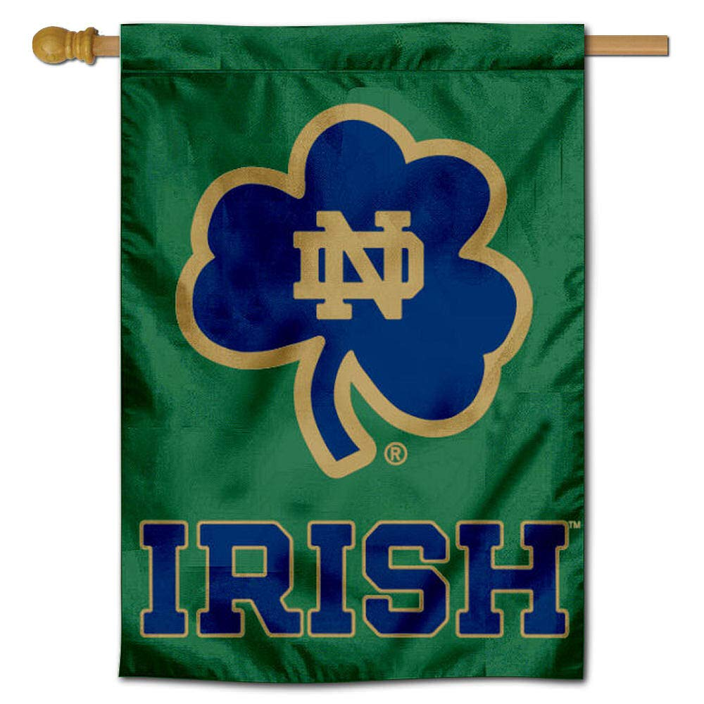 Notre Dame Shamrock 28 x 40 Two Sided House Flag College Flags and Banners Co
