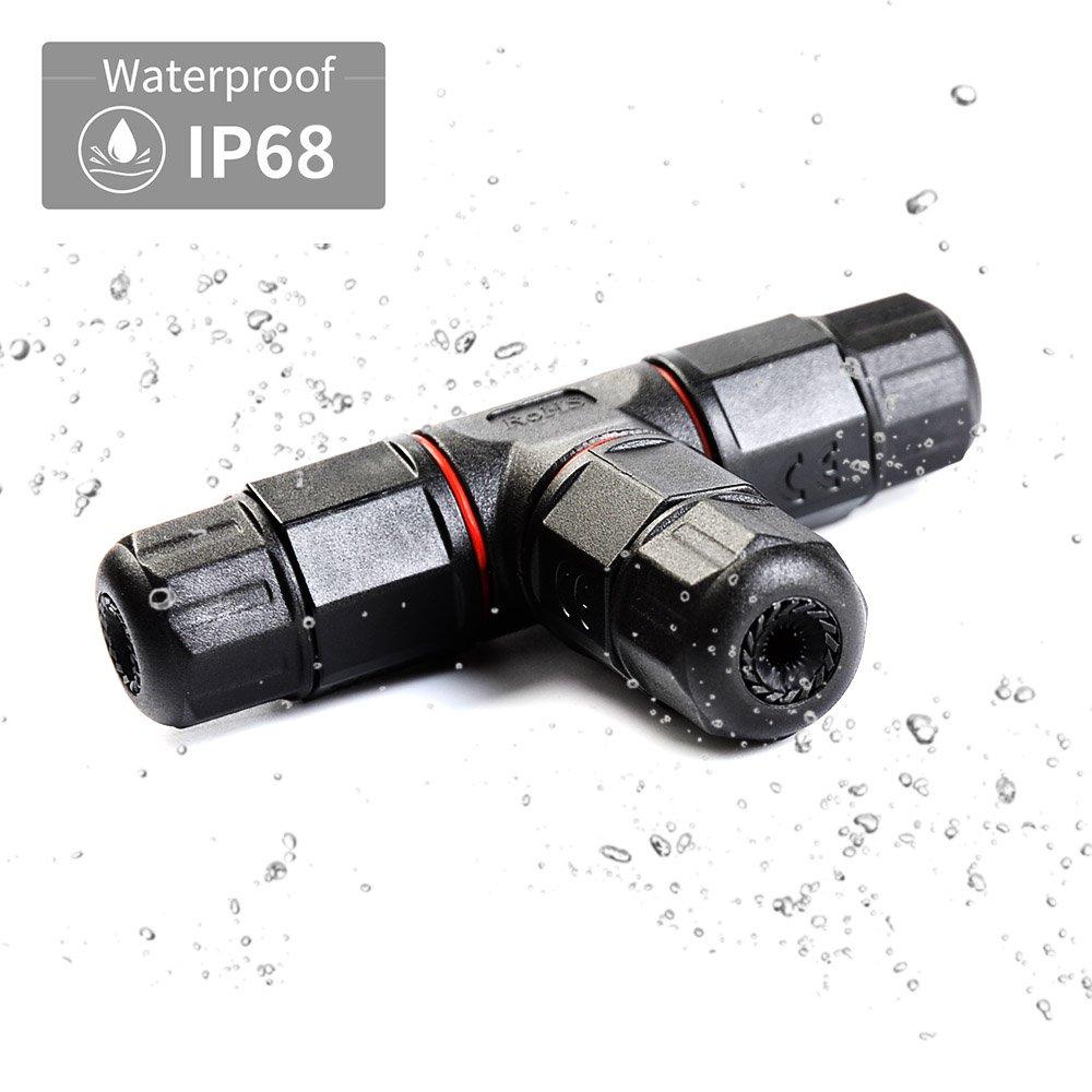 ATPWONZ T Forma Caja de Empalmes Prueba de Agua Electricos de Interior de 3 Puertos PVC IP68 Cable de Di/ámetro /Ø5mm 10.5 mm Negro