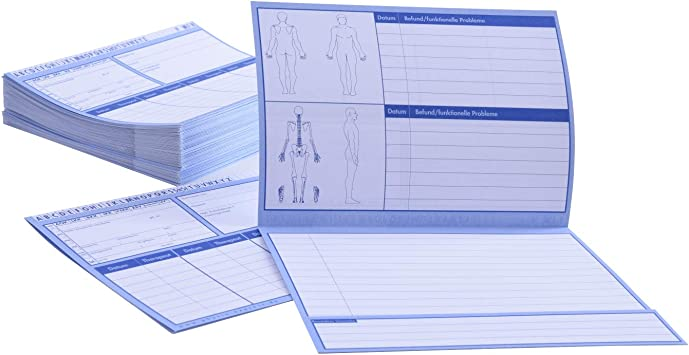 100 St/ück I DIN A5 Physiotherapie oder Krankengymnastik I in drei Mengen verf/ügbar 200g//m2 I Karteikarten f/ür die Arztpraxis Patientenkarteikarten gefaltet