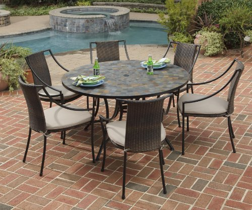 Home Styles 5601-368022 Stone Harbor 7-Piece Dining Set with Table and Laguna Arm Chairs, Black Finish, 51-Inch