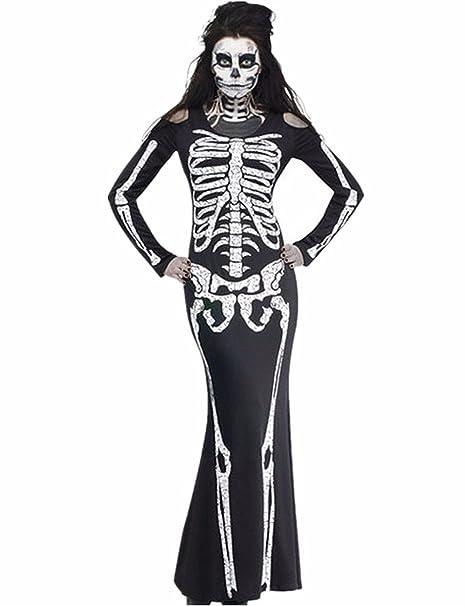 Costume Scheletro Donna Uomo Adulto Fantasia Carnevale Cosplay Halloween  Costumi Horror Travestimento di Coppia Abbigliamento Performante 7ddc68417475